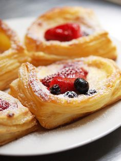 Recipe for Berry and Ricotta Danishes - There's something magical and fascinating about puff pastry and the way the buttery dough rises up to form crisp, golden layers.