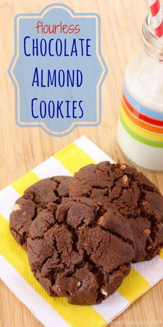 Flourless Chocolate Almond Cookies are gluten free and delicious.