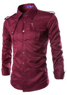 Wine Military Style Shirt MR8790