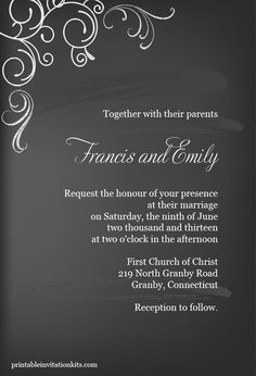 FREE PDF Download - Chalkboard Invitation Template - can be mounted on paper mat for colored border. Easy to edit and print.