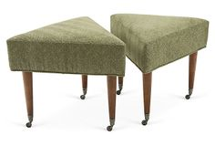 "Ottomans, Pair on OneKingsLane.com Hickory Chair triangular ""Annie"" ottomans with casters. Original antique finish."