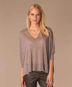 HELMUT LANG Corrosion Top Draped Asymmetric Blouse M in Gray Viscose Linen Slub #HELMUTLANG #KnitTop #Casual