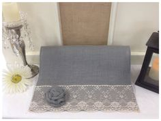 "Grey Burlap & Lace Table Runner  12"" or 14"" wide with White or Ivory Lace on ends. Includes 2 burlap roses - Wedding runner Home decorating by CreativePlaces on Etsy"