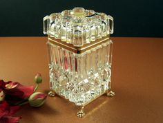 Cut Crystal Jewelry Casket // Footed Hinged Cigarette Box // Gold Plated Mounts // Lion Claw // Trinket Perfume Snuff
