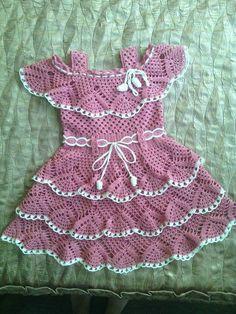 Crochet Baby Dress Pattern, Baby Dress Patterns, Crochet Doily Patterns, Baby Girl Crochet, Crochet Baby Clothes, Crochet Blouse, Crochet Baby Hats, Crochet Waffle Stitch, Crochet Ripple Blanket