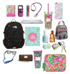 """""""back to school"""" by sydneyblankenship ❤ liked on Polyvore featuring The North Face, Lilly Pulitzer, Vera Bradley, Vineyard Vines, Michael Kors and Eos"""