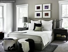 grey, white & black bedroom, love the color of the walls but I would add a little pop of color.. Maybe blue or yellow?