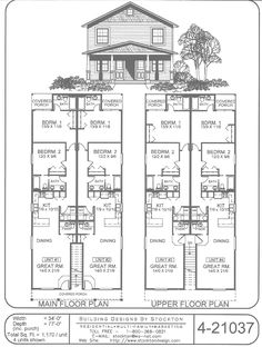 Contemporary 4 unit apartment house plan - multi family house plan ...