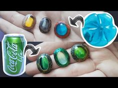 Plastic Bottle & Soda Can Gemstones: Hello crafters!Today I will show you yet another way to make plastic bottle gemstones, but this time we're including my other favorite recycled item - soda cans!Especially since Halloween is coming up and many of us don't have a lot of craft supplie… Wire Jewelry, Jewelery, Diy Plastic Bottle, Ring Crafts, Soda Bottles, Upcycled Crafts, Resin, Gemstone Rings, Gemstones