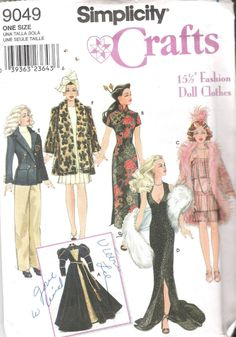 Simplicity 9049 Retro Historical Doll's Clothes for 15 Inch Fashion Dolls OOP Sewing Pattern UNCUT Factory Folds Sewing Barbie Clothes, Barbie Sewing Patterns, Doll Dress Patterns, Sewing Dolls, Clothing Patterns, Patron Simplicity, Simplicity Patterns, Simplicity Fashion, Free Barbie