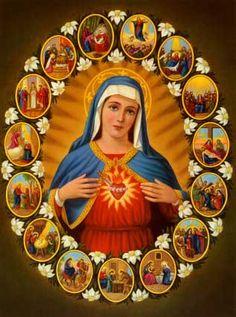 Sacred Heart, Mary, mother of God Mary Jesus Mother, Blessed Mother Mary, Mary And Jesus, Blessed Virgin Mary, Jesus Christ Images, Jesus Art, Catholic Prayers, Catholic Art, Jesus E Maria