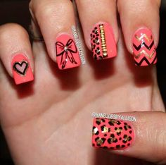 Leopard & bow nail art