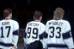 Jari Kurri, Wayne Gretzky and Marty McSorley, Los Angeles Kings