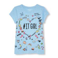 Girls Short Sleeve 'ITGIRL' Doodle Graphic Tee
