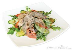 Salad with roast beef, tomatoes, cucumbers, cilantro, thyme, mixes salad Aisberg, Romana, Rucola, Lola Rossa, seasoned with special sauce