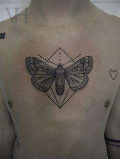 moth by valentin hirsch #chest #tattoos