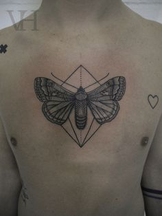 moth by valentin hirsch #chest #tattoos