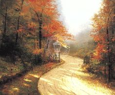 Thomas Kinkade Autumn Lane painting for sale - Thomas Kinkade Autumn Lane is handmade art reproduction; You can buy Thomas Kinkade Autumn Lane painting on canvas or frame. Thomas Kinkade Art, Kinkade Paintings, Thomas Kincaid, Art Thomas, Autumn Scenes, Autumn Forest, Landscape Prints, Landscape Paintings, Cover Photos