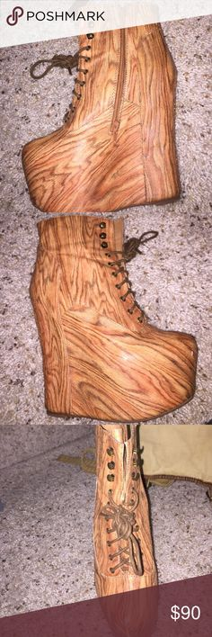 Jeffrey Campbell Damsel Wood Boots Wood style boots created by Jeffrey Campbell. Great condition! Box included Jeffrey Campbell Shoes Heeled Boots