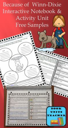 Free Samples from Because of Winn Dixie Interactive Notebook and Activity Unit