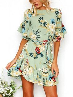 Green Random Floral Print Mini Dress With Half Flared Sleeves