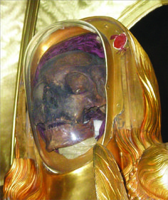 Today the skull of Saint Mary Magdalene along with her jaw bone are in a gold reliquary in the Basilica of Saint Mary Magdalene in relics at Saint-Maximin-la-Sainte-Baume.