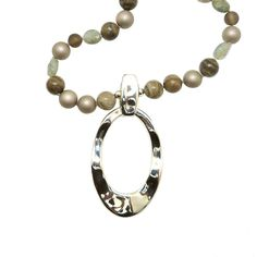 Camouflage Taupe Gray Pearl Sterling Silver Simon Sebbag Necklace Oval Pendant PN590CM36