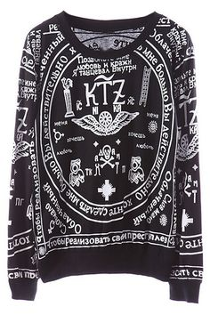 ROMWE | KTZ Religious Pattern Black Sweatshirt, The Latest Street Fashion