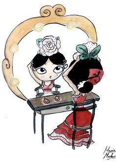 El espejo de la flamenca- acuarelas-Watercolors. By María Machuca