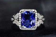 Engagement Ring   3.8 Carat Tanzanite Ring With by stevejewelry