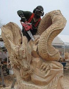 Dragon carving by Keiji Kidokoro FB
