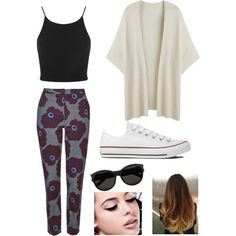 Zoella inspired outfit by one-direction-outfits-requests on Polyvore featuring Miss Selfridge, Topshop, Converse, Yves Saint Laurent, Maybelline and plus size clothing