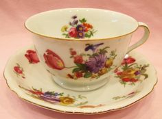 Victoria Czechoslovakia Tea cup and Saucer Flowers