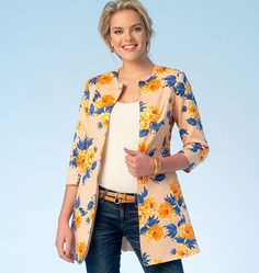 Flattering long jacket sewing pattern from Kwik Sew features a waist seam and three-quarter length sleeves. K4104, Misses' Jackets