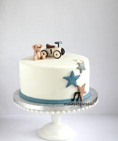 One Year Birthday Cake, Baby Birthday Cakes, Baby Boy Cakes, Cars Cake Design, Gateau Baby Shower, Fondant Cake Designs, Cake Decorating For Beginners, Farm Cake, Birthday Cake Decorating