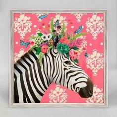 Mini Framed Canvas - Zebra/Haute (Pink)