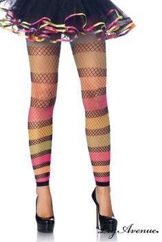 Des leggings à mettre avec un petit shorty ou sous un jupon. Large résille extensible. Couleur fun et flashy. Idéal pour compléter des tenues RaveWear ou Costumes.