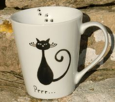 Black Cat Mug by freespiritdesigns2 on Etsy, £12.00