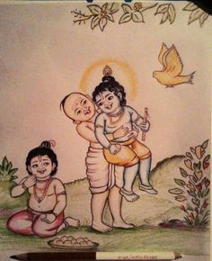 Chubby Madhumangala is Krishna's funny brahmana friend. He loves laddus. Here we see Madhumangala showing off how strong he is after eating laddus. Krishna Avatar, Cute Krishna, Radha Krishna Love, Krishna Radha, Durga, Krishna Drawing, Krishna Painting, Lord Krishna Wallpapers, Radha Krishna Wallpaper