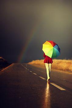 Fotografia arcoiris al final del camino