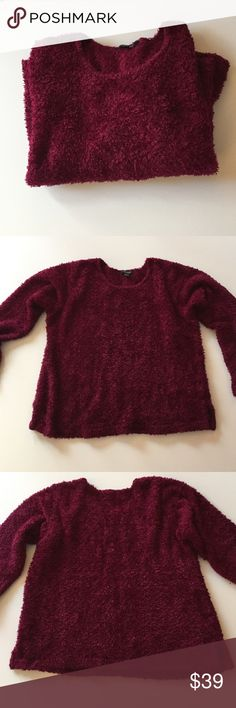 """Karen Kane Burgundy Fuzzy Sweater Excellent condition. Very soft with fuzzy texture. Crew neck. Has side slits at bottom. About 21"""" from armpit to armpit. 23"""" long. Sleeves 23"""". 100% polyester. Hand wash cold. Lay flat to dry. Not from a smoke free house. Karen Kane Sweaters Crew & Scoop Necks"""