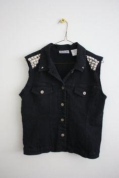 Black Jean Studded Vest with Skulls. $45.00, via Etsy.