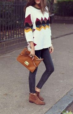Patterned Sweater, Faded Black Zip Ankle Skinnies, Rust Bootie