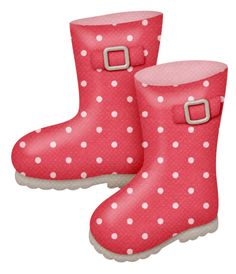 Rain boots red with poka dots