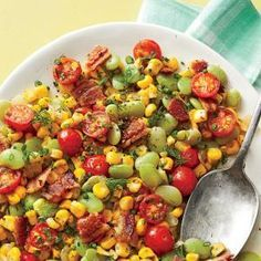 Southern Living Succotash - fresh corn, lima beans or edamame and cherry tomatoes. Might use more dill and chives without thyme since it can overpower other flavors. I used less bacon grease and butter and it was still yummy! Will add creole seasoning next time too! June 2015