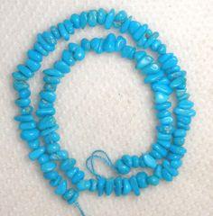 "Sleeping Beauty Turquoise Gemstone Chip Beads Blue 9"" Delicate Grade AA # 156A #SleepingBeauty #Southwest"