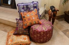 Accent pillows scattered across the house/party