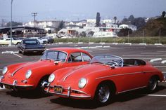 Porsches 356 x 2, in LA about 1965. Where is the Speedster now?