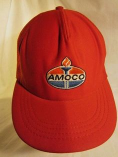 6ae9be62c23 Amoco Red Mesh Cap Snap Back Trucker Hat USA Made Vtg Oil Gas Petroleum BP  Retro