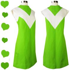 Vintage 60s Space Age Lime Green Gogo Shift Dress S M  * Sleeveless, high neck, pointed shoulder * V in off white, vertical line textured bright lime green * Back zipper, shift dress, approx knee to below knee  Designer: Burt Stanley California Very Good Condition- no holes or odors. Non-smoking Small blemish at neckline More photos available  Bust: 36 Waist: 34 Hips: 38 Full Length: 38.5